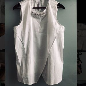 NWOT Zara Blouse with Bead Detail Neck